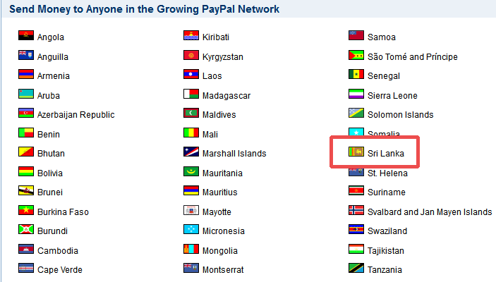 Sri Lanka Belongs to Send Only Group In PayPal