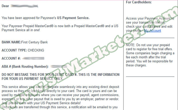 US Payment Service Approved Email