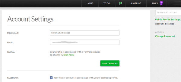 Fiverr v2 Settings Page