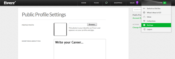 Fiverr v2 Public Profile Settings