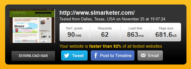 SLMarketer Website Speed